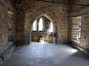 Prudhoe Castle inside an old brick hall of the castle