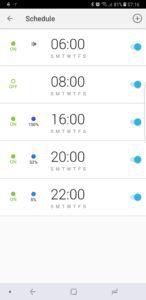TP-Link LB130 Smart Bulb Schedule page in kasa app