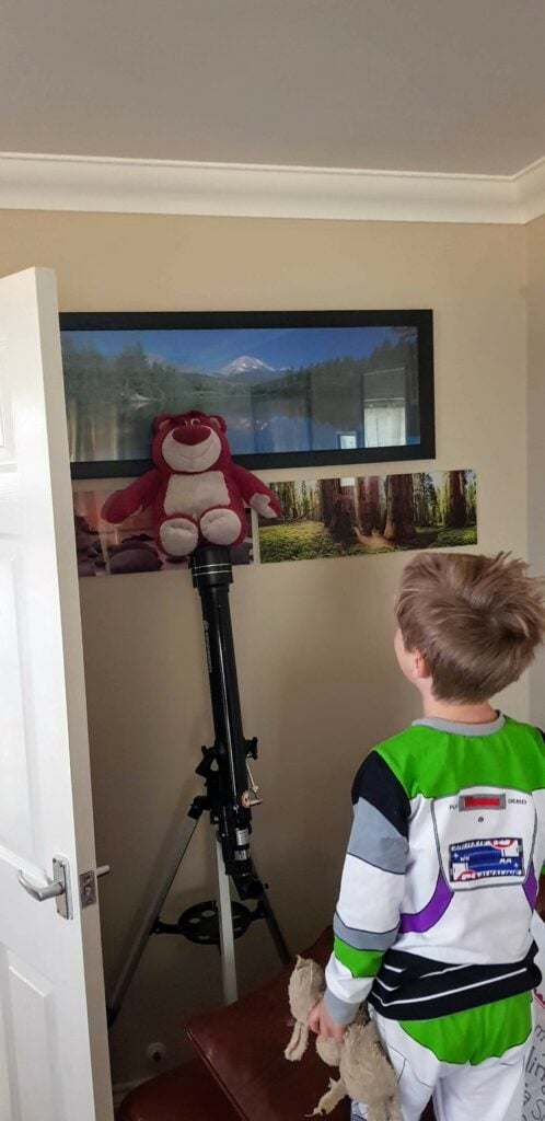 Lotso toy on telescope
