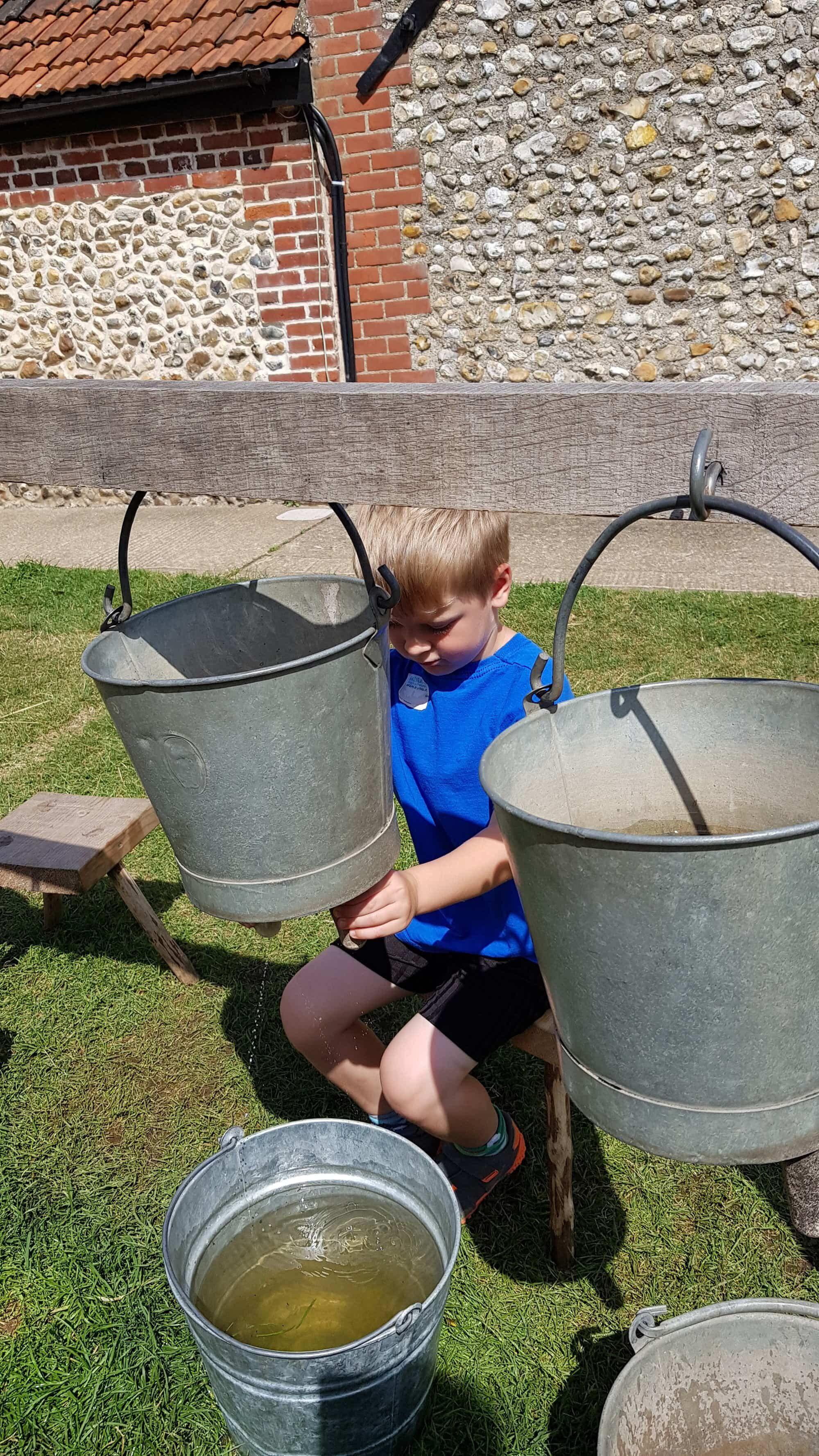 Milking a bucket
