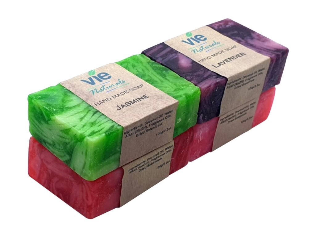4x100g Vie Naturals Hand Made Soap stack