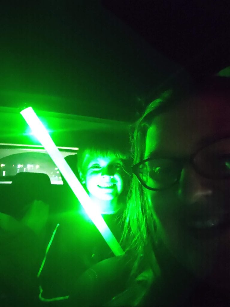 Glow sticks in the car
