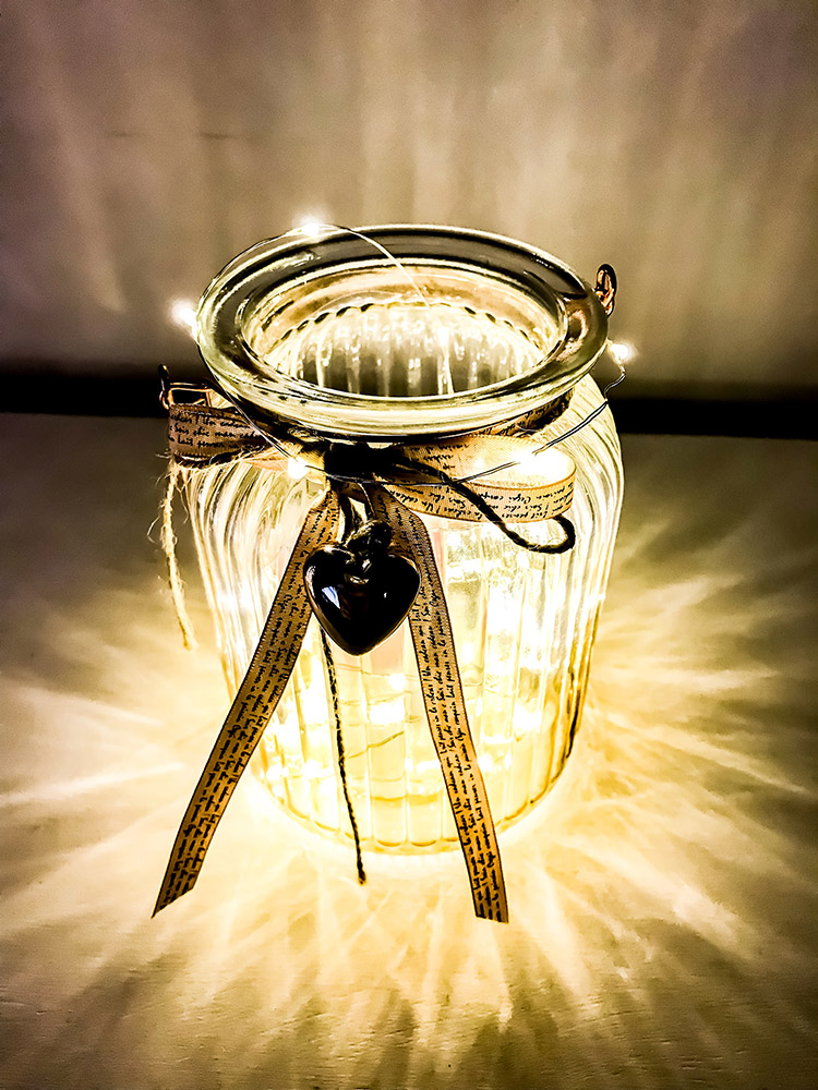 Battery wire lights inside a mason jar