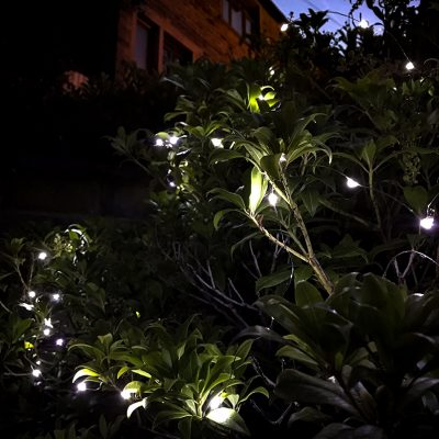 White outdoor battery lights
