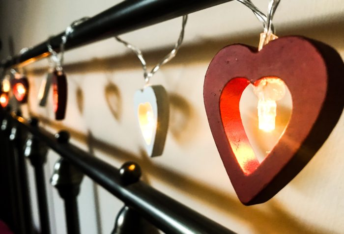 Red and white heart lights - romantic lighting