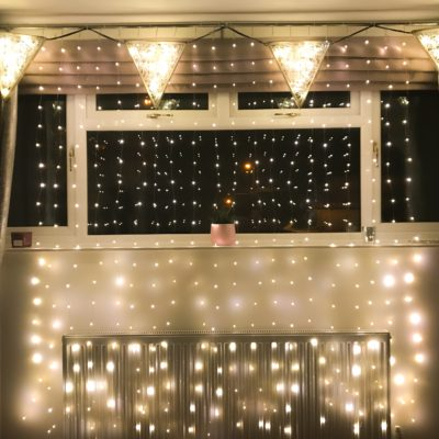 wire lights and illuminated bunting display