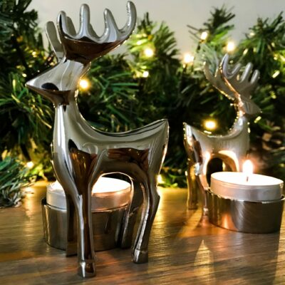 chrome reindeer tea light holder
