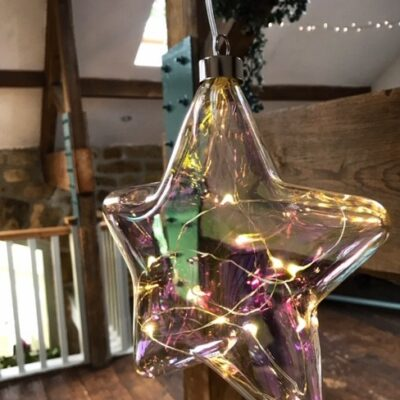 light up glass star