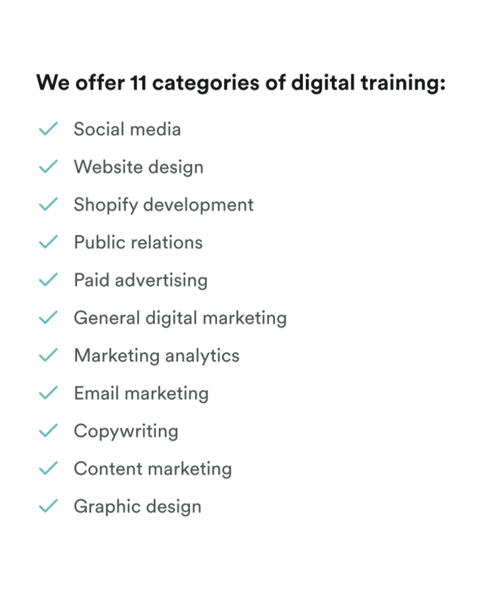 Description of 11 categories of digital training offered by Acadium