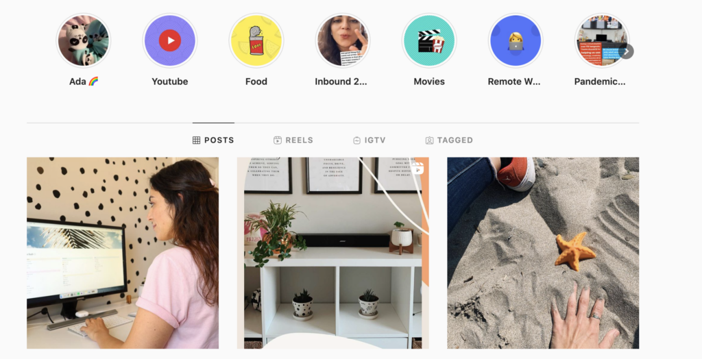 Different formats of content on Instagram page Elif Hiz