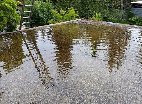 Water almost collapsed this tar and gravel flat roof on a garage in Edmonton, Alberta-min