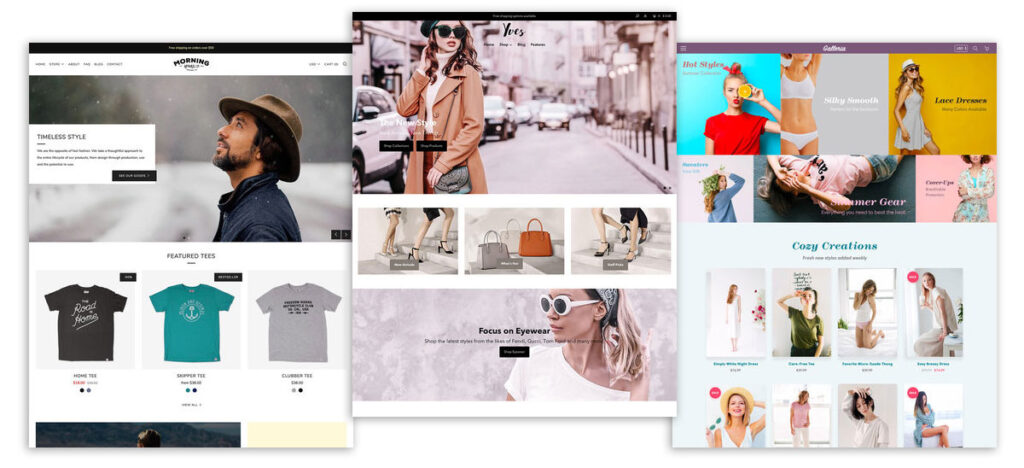 Shopify layouts available from their theme store