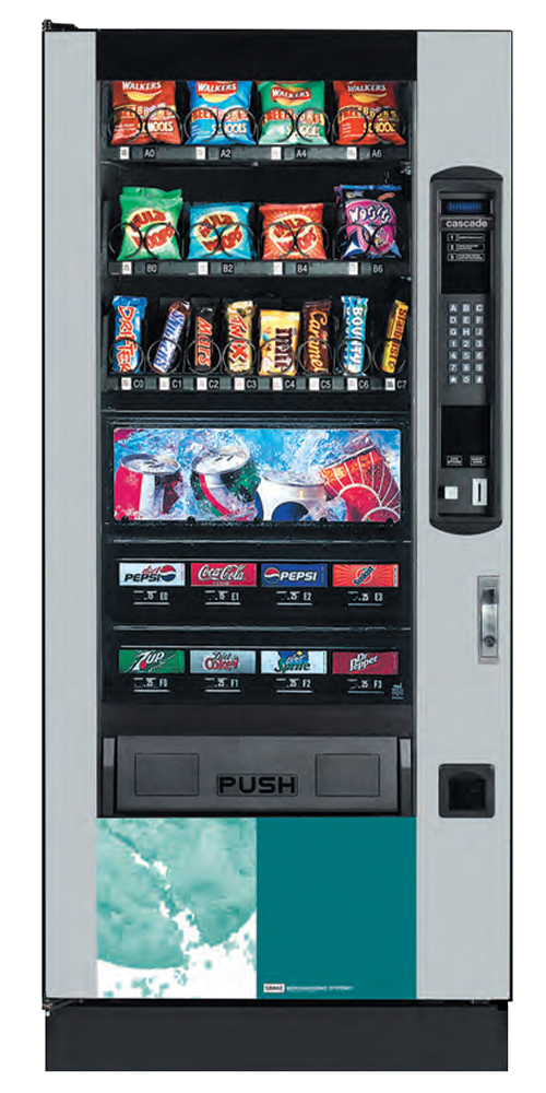 Crane Cascade snack and can vending machine