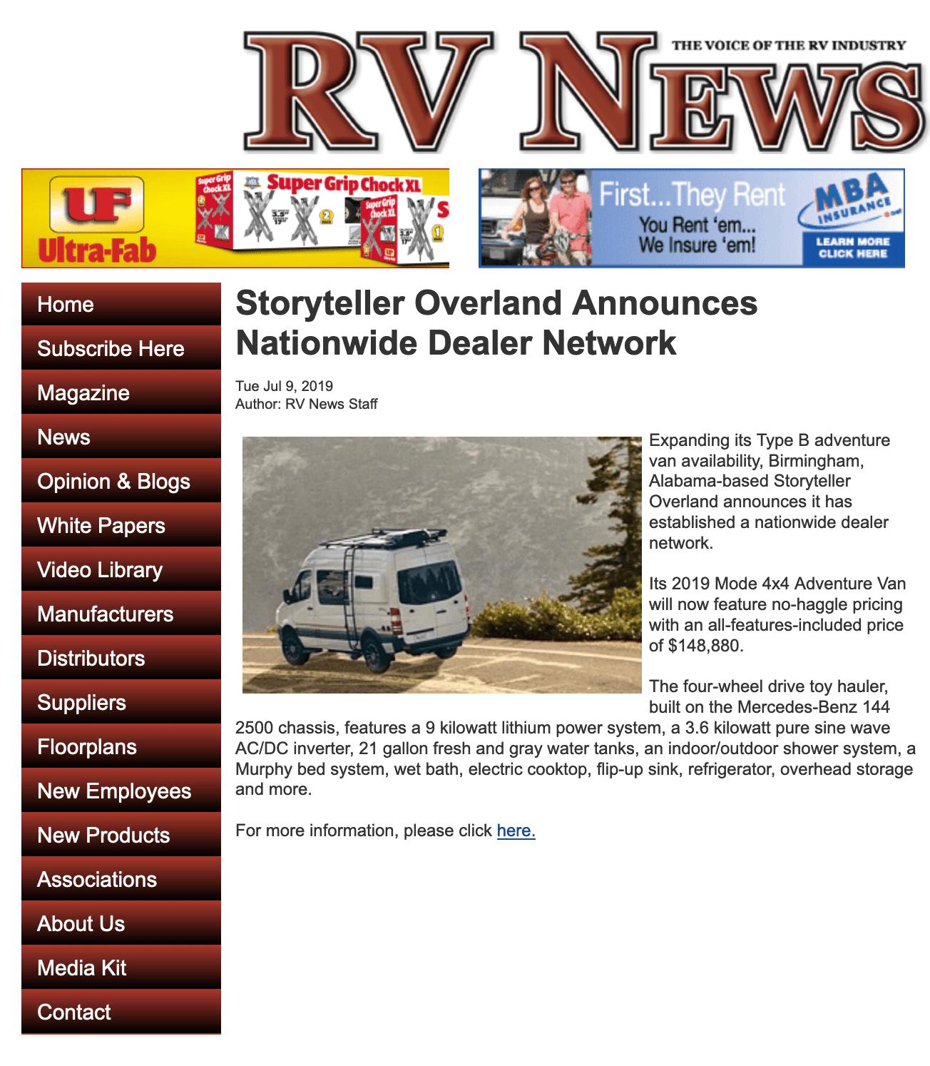 Storyteller Overland RV News