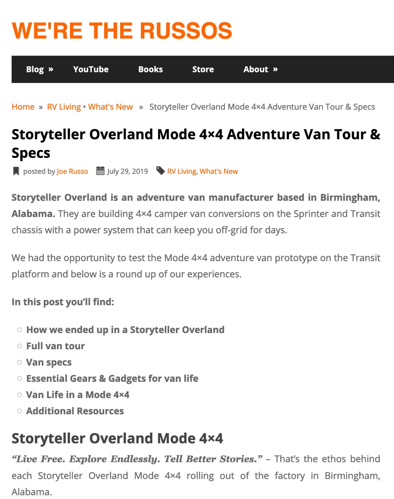 Storyteller Overland We're the Russos