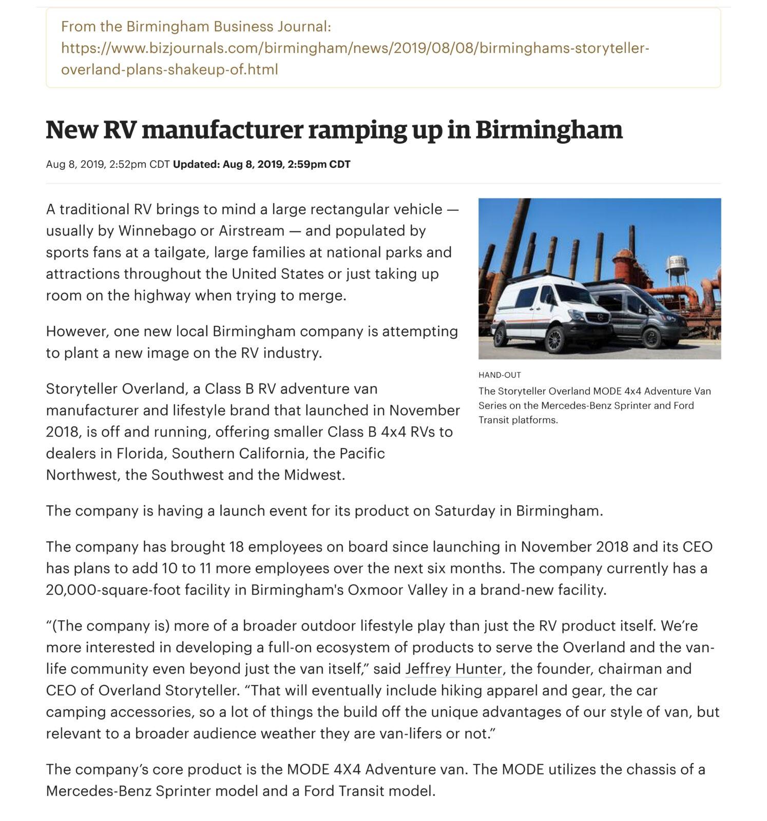 Storyteller Overland Birmingham Business Journal