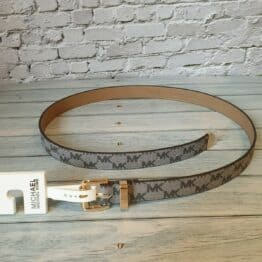 Grey brand embossed Michael Kors belt
