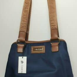 Calvin Klein Belfast Tote, Blue Nylon with Brown branded handles