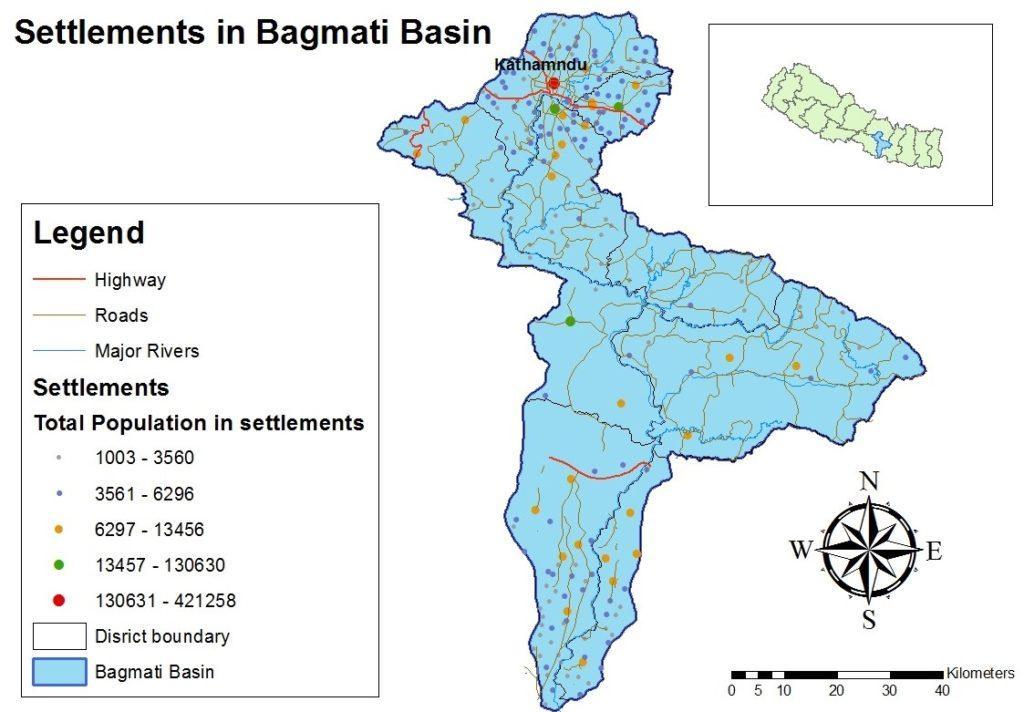 Siedlungen in Nepal am Bagmati Fluss, eigene Darstellung UIZ