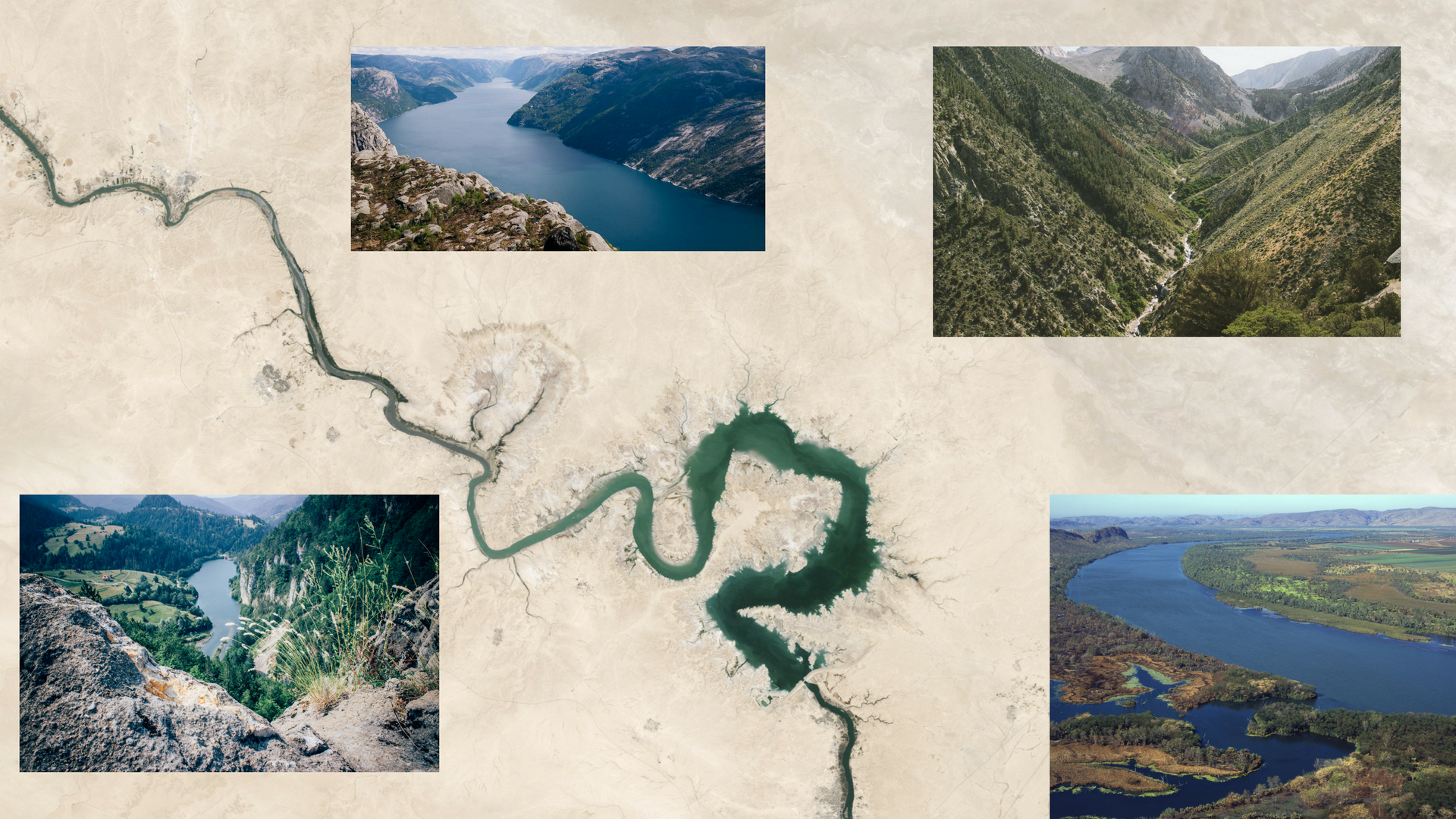 Watershed depicted by remote sensing in the center and as seen in real from side images