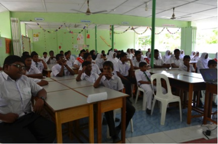 School Children learning about marine ecosystem around their island as well as what they can do to protect sea turtles