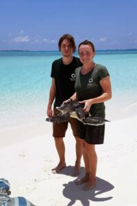 Brian with Dr Claire Lomas and a newly rescued sea turtle who washed up near the island where the Rescue Centre is loacted