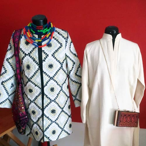 Sustainable and ethical fashion by Nasheman. The shirt of the left is made from plastic rice bags.