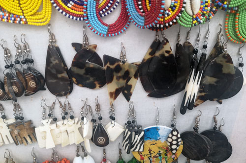 Hawksbills are often poached for their beautiful shell. Jewellery made of tortoise shell for sale. Image.