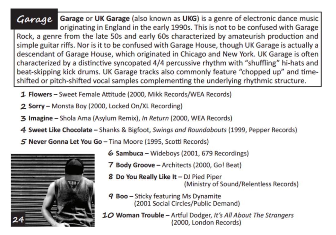 Garage Anthems list