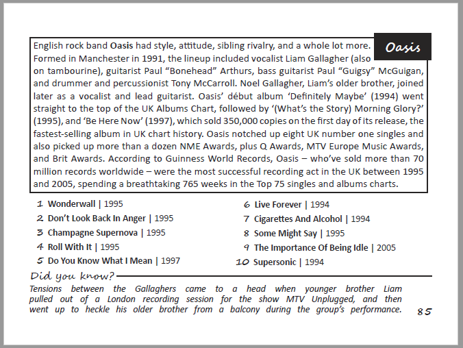 Oasis Top Ten Tunes