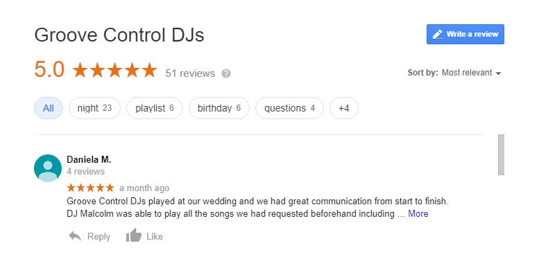 Google DJ hire reviews