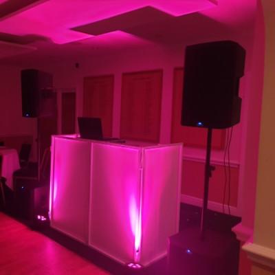Wedding Disco set up, 2 Uplights
