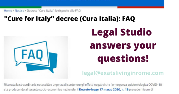 """""""Cure for Italy"""" decree: you asked - we answer! Legal studio for Expats"""