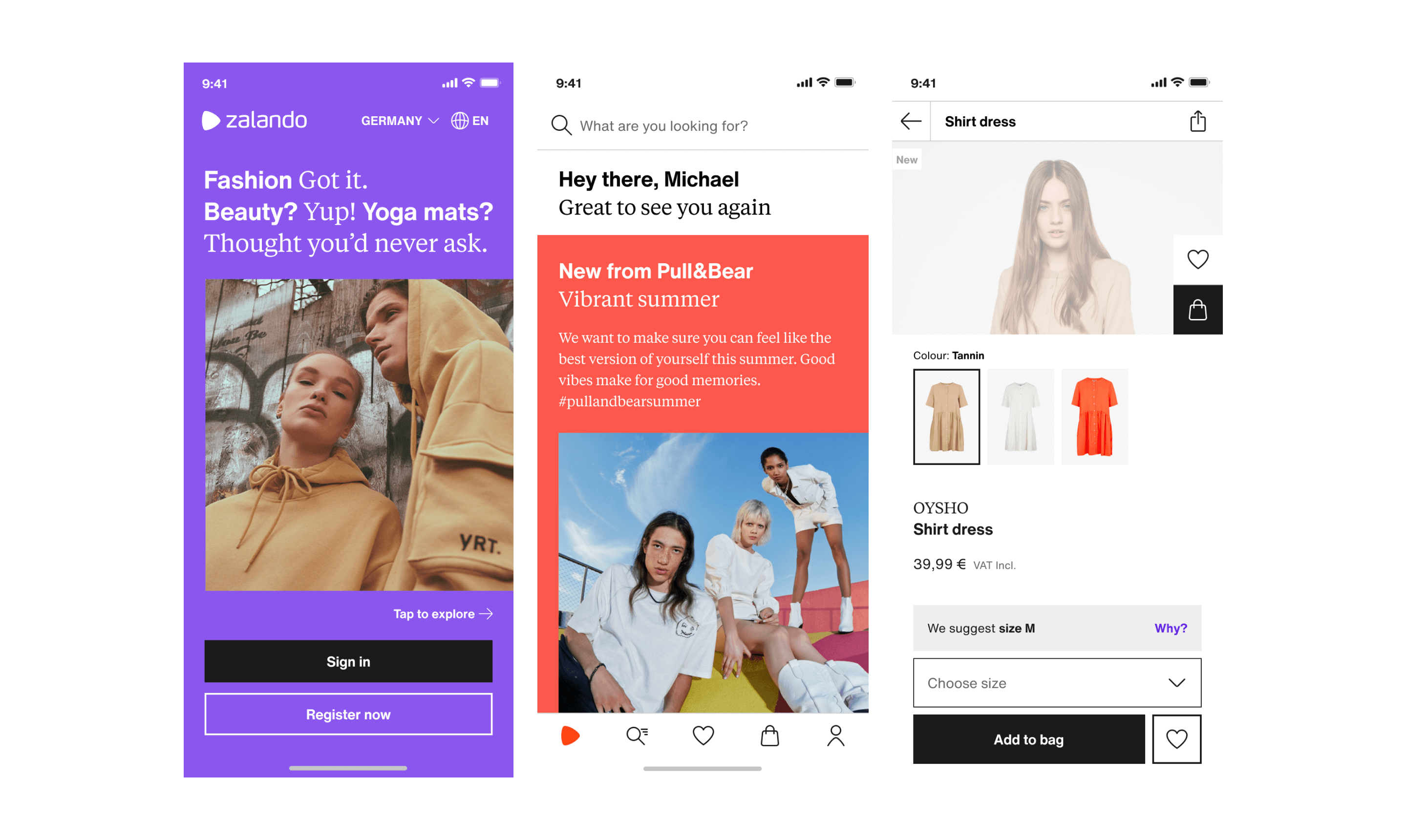 A few examples of the type pairing in the current experience on the Zalando app