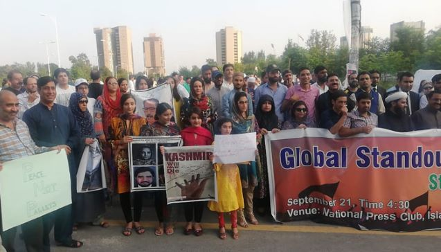 Protest in solidarity with Kashmiris on UN International Day of Peace