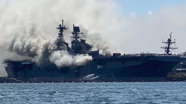 21 injured as massive blaze & EXPLOSION cripple US military ship in San Diego
