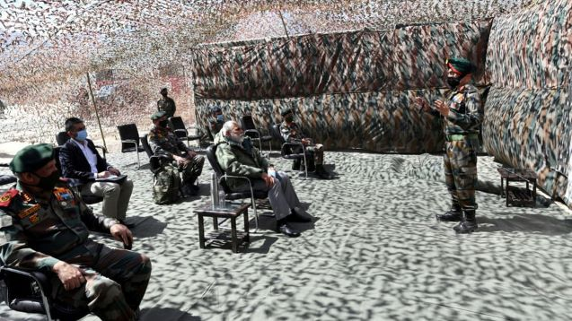 Modi visits Himalayan border region of Ladakh where Indian & Chinese troops clashed