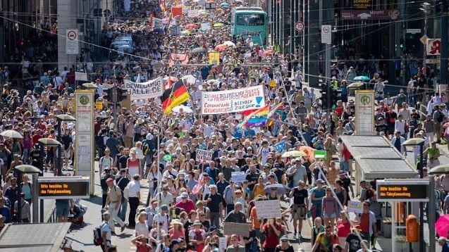 Protest in Berlin against coronavirus measures, as cases rise