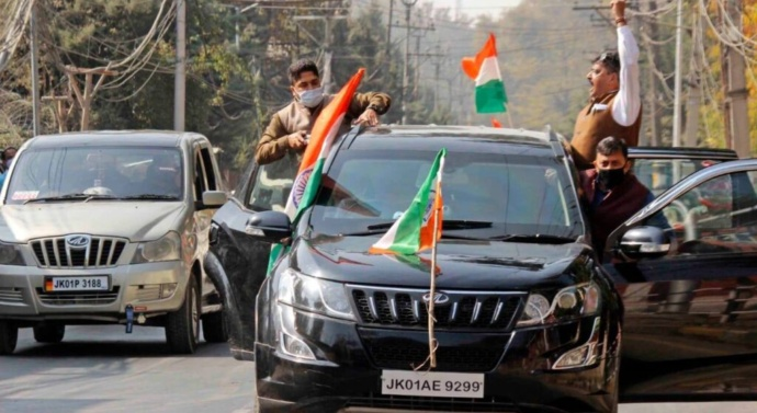J&K BJP Leads Tiranga March After Mehbooba Mufti's National Flag Remark