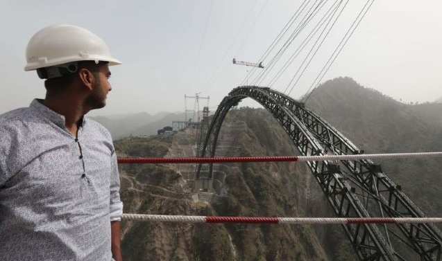 Arch of world's highest railway bridge on Chenab river in J-K completed