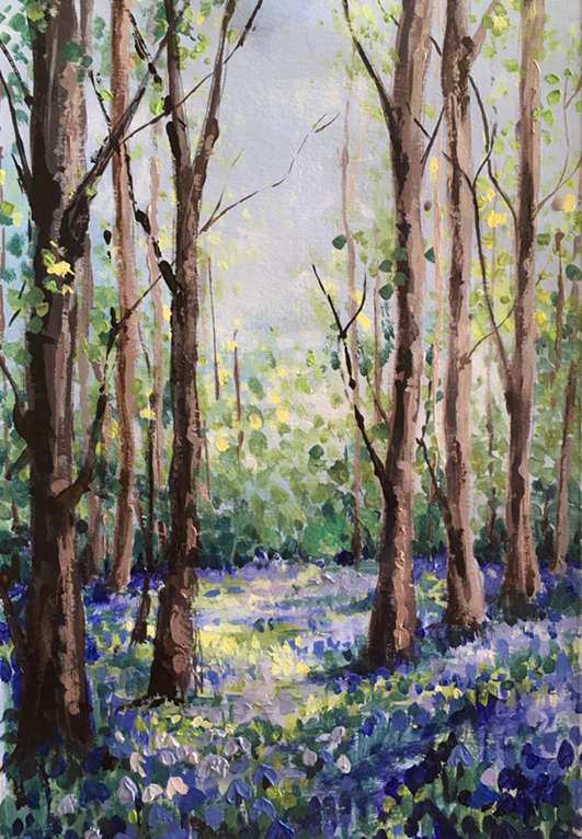 New Project: Acrylics - Bluebell Woods ColourWheel Art Classes