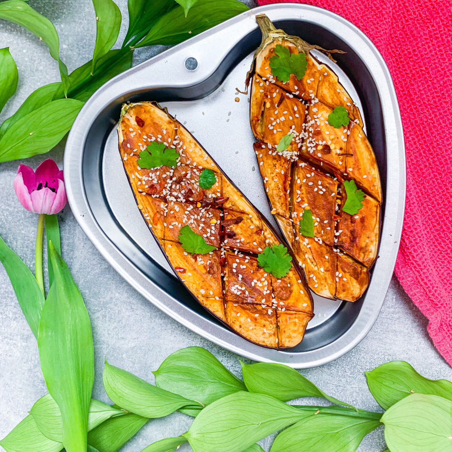 Miso and peanut butter glazed aubergine