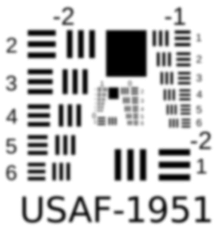 Cubesat Camera Resolution - 1951 USAF Resolution Target with gaussian blur.