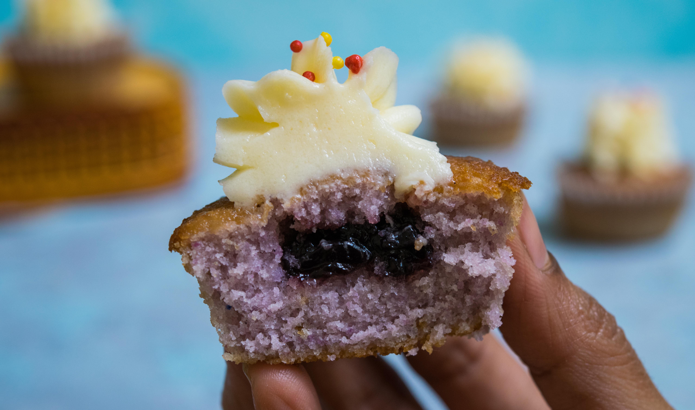 Jam filled black currant cupcakes