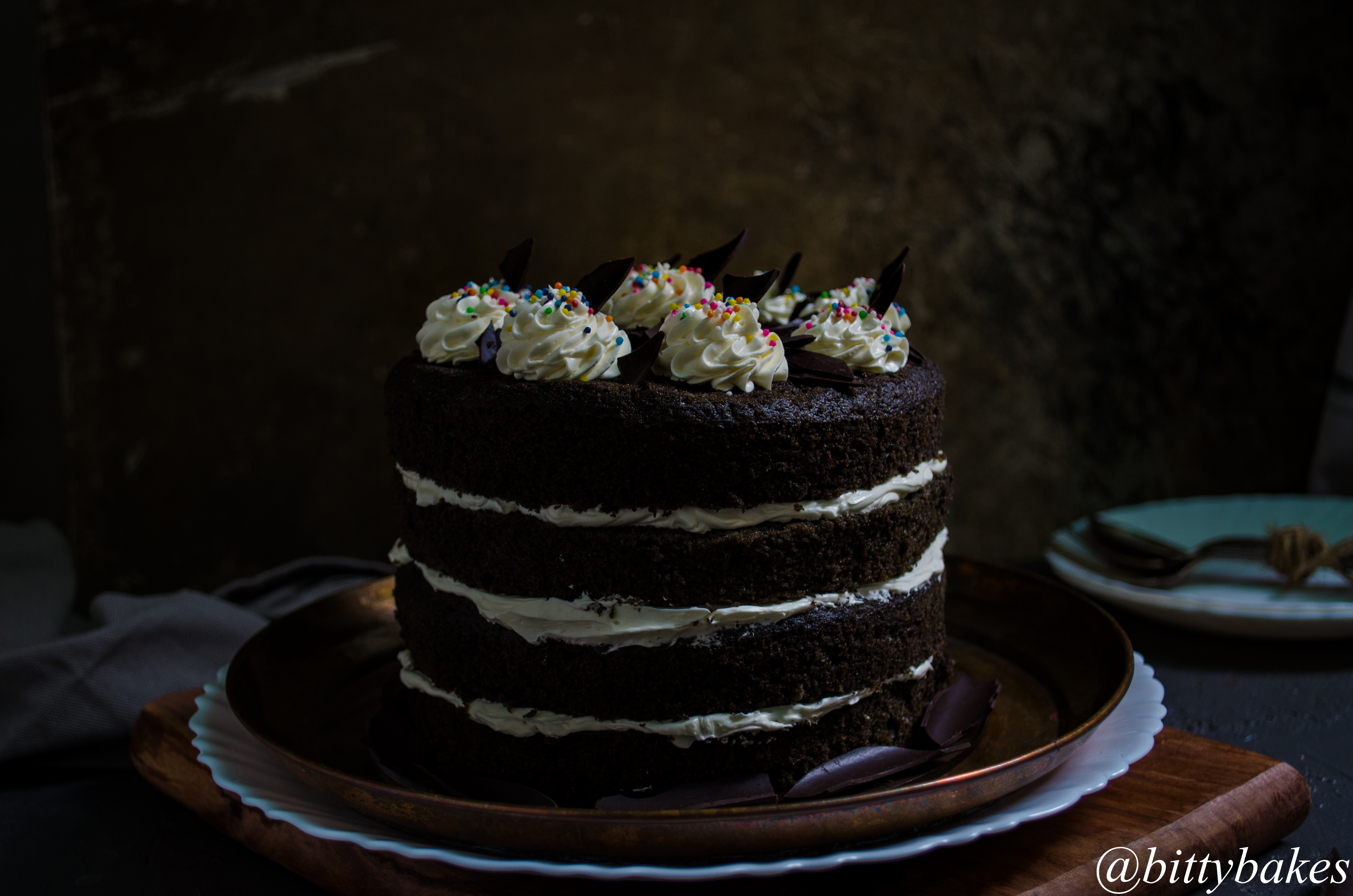 black velvet cake with swiss meringue buttercream