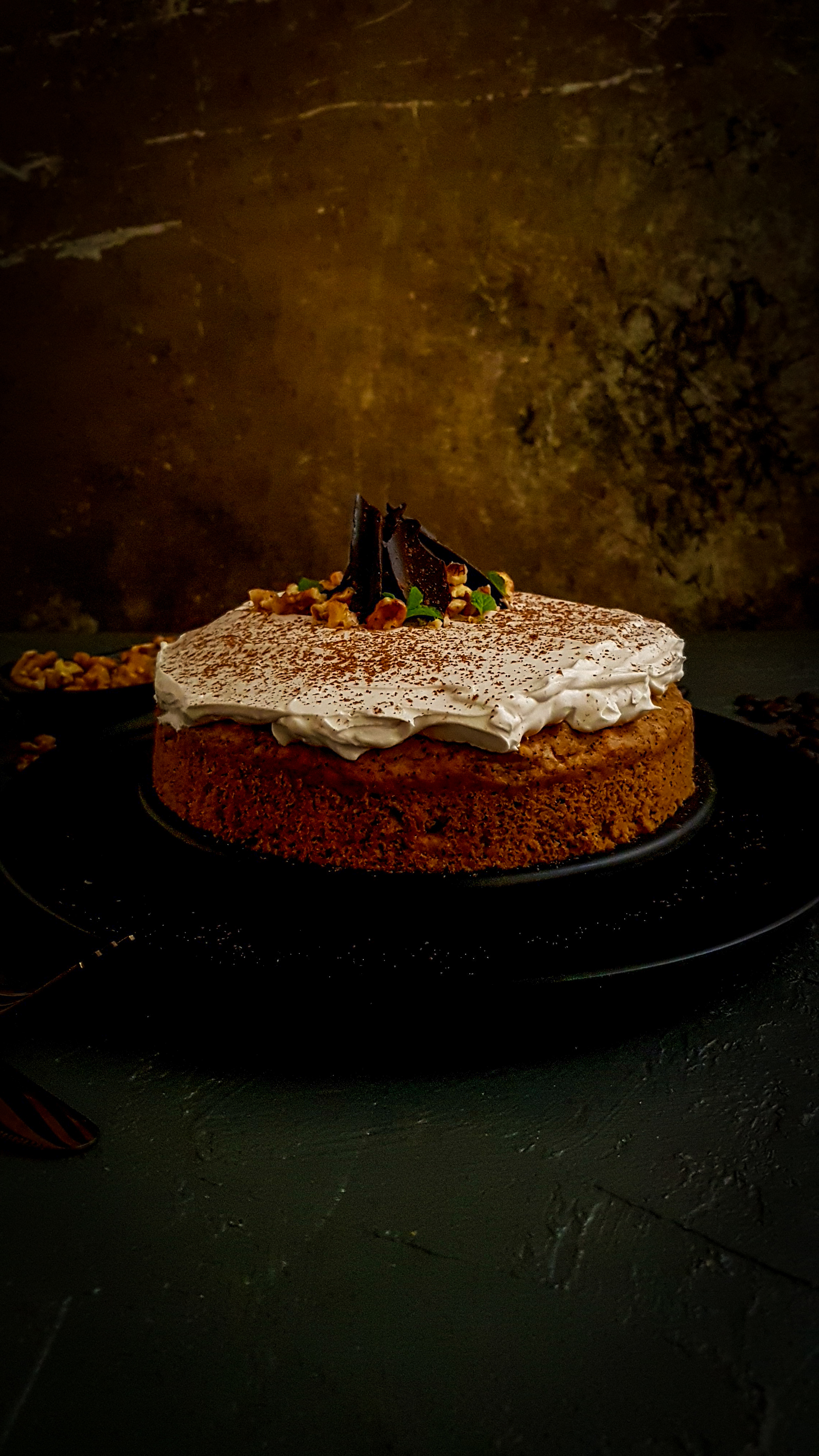 Eggless Coffee Cake with whipped cream