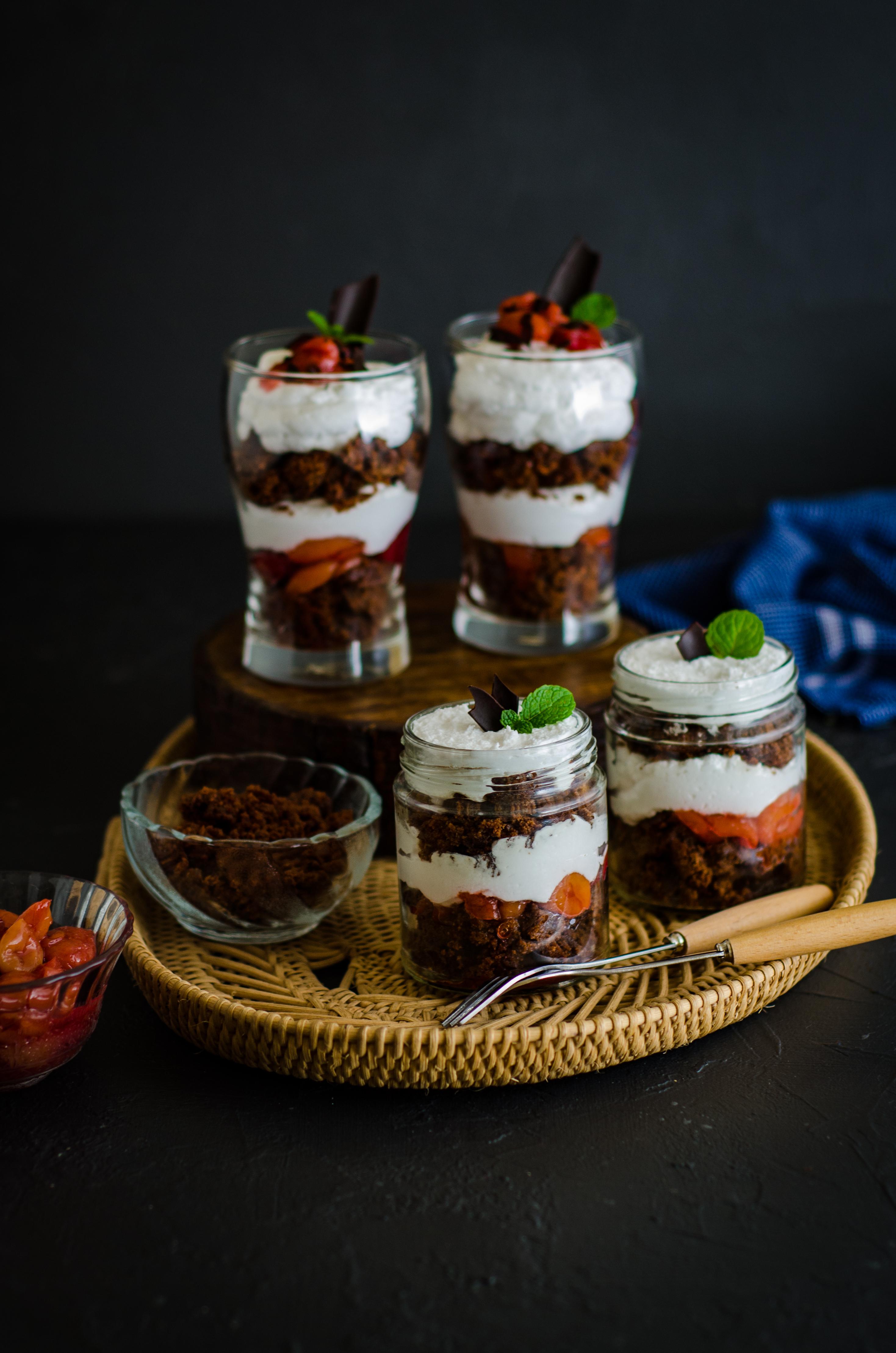 Black forest brownie parfaits-1218