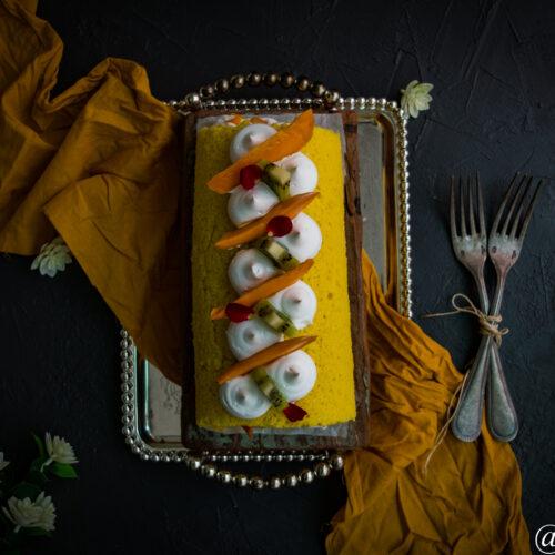 Mango roll cake