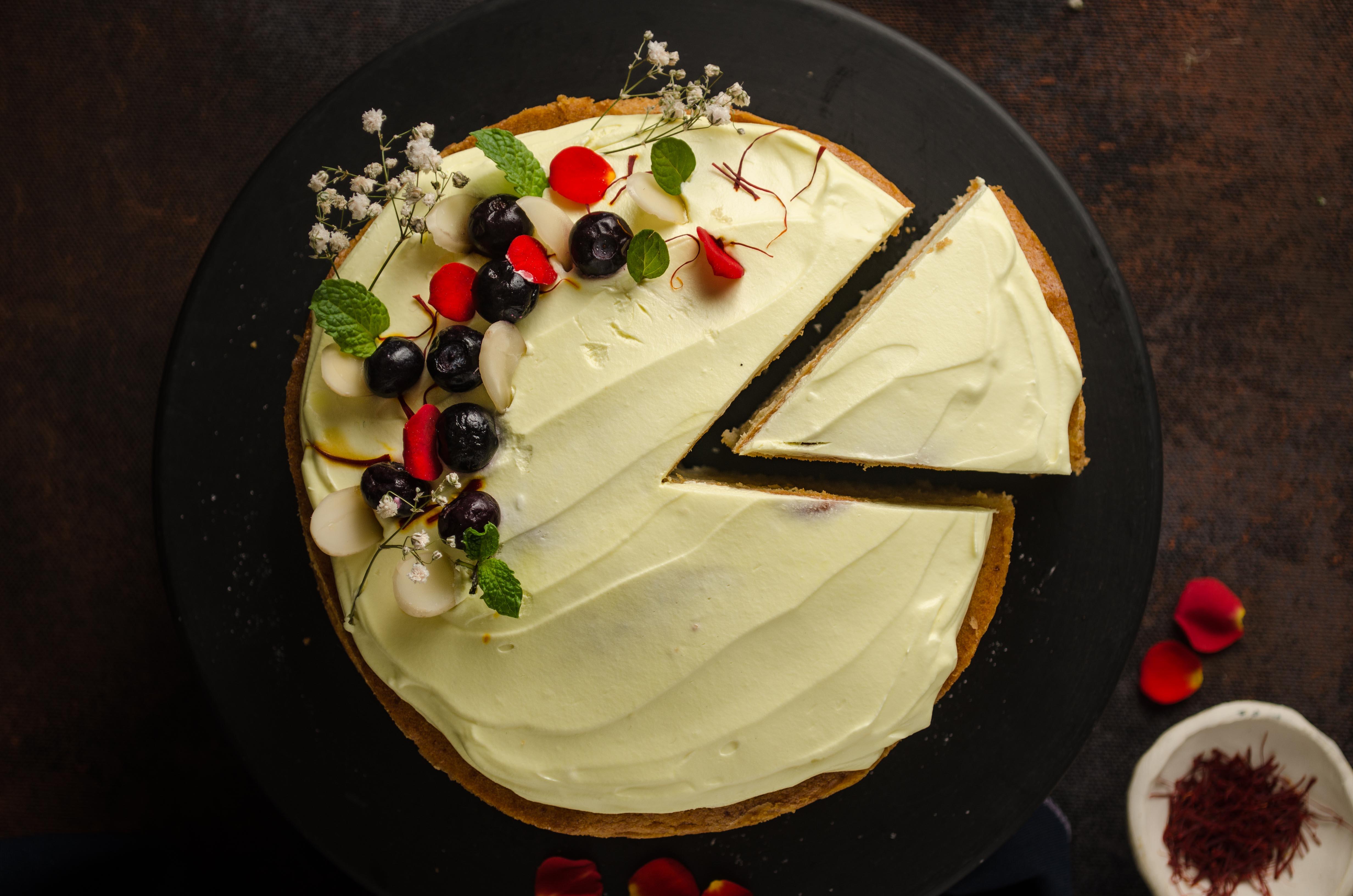 one bowl eggless saffron cake