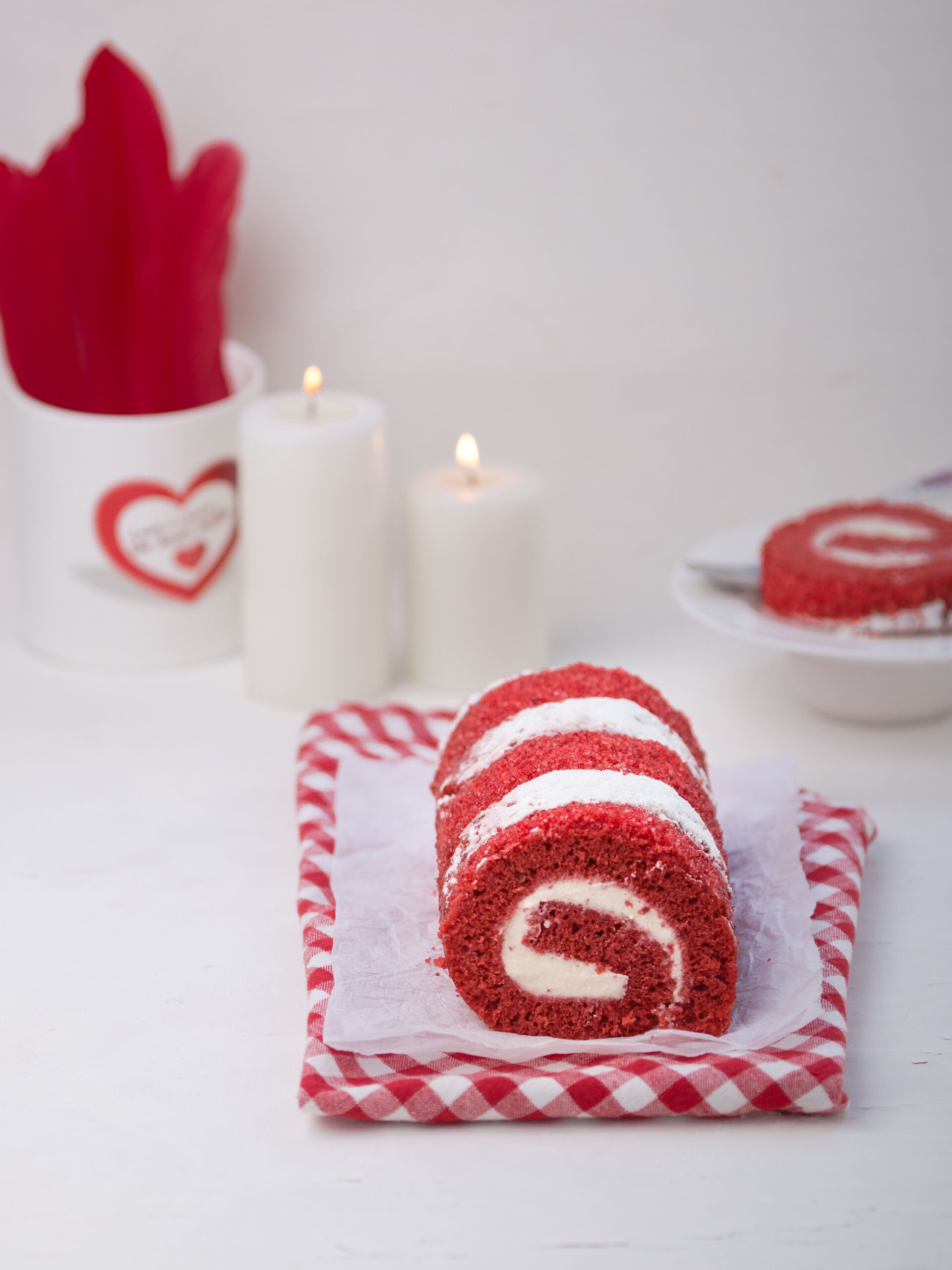 red velvet roll cake - swiss roll